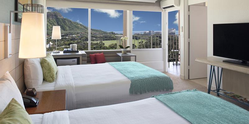 퀸 카피올라니 호텔 오션 뷰 퀸 침대 2 개